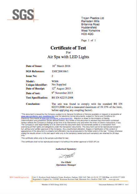 EMC208106-1 EMF Certificate Air Spa