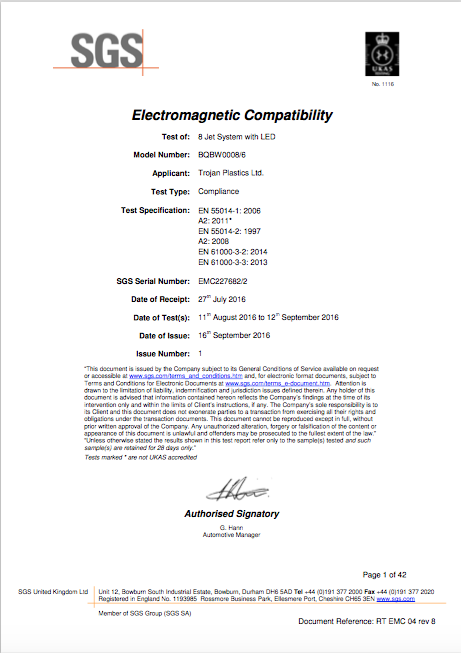 EMC Test Report for 8 Jet System